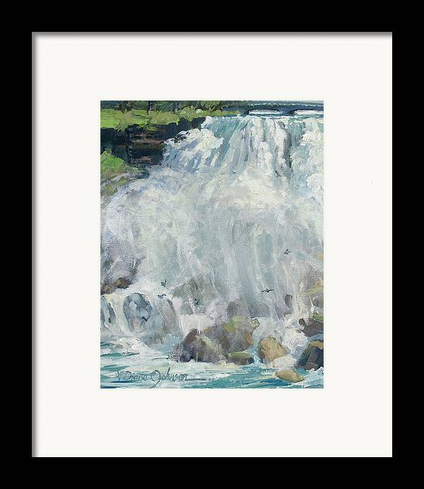 Niagara Falls Framed Print featuring the painting Playing In The Mist - Niagara Falls by L Diane Johnson