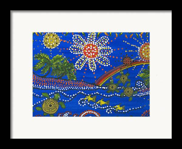 Ocean Party Framed Print featuring the painting Playing In The Sun by Laura Johnson
