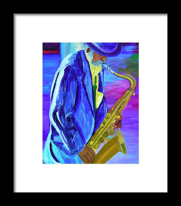 Street Musician Framed Print featuring the painting Playing The Blues by Michael Lee