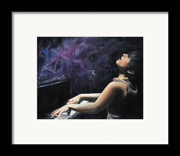 Piano Framed Print featuring the painting Playing With Feeling by Maryn Crawford