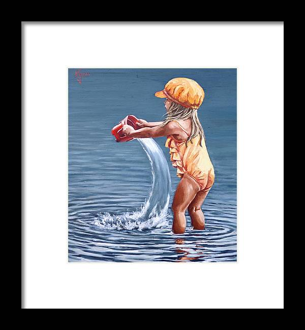 Little Girl Framed Print featuring the painting Playing With Water by Natalia Tejera