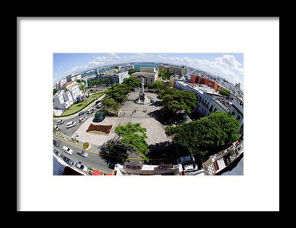 Darin Volpe Architecture Framed Print featuring the photograph Eye On Old San Juan -- Plaza De Colon In San Juan, Puerto Rico by Darin Volpe