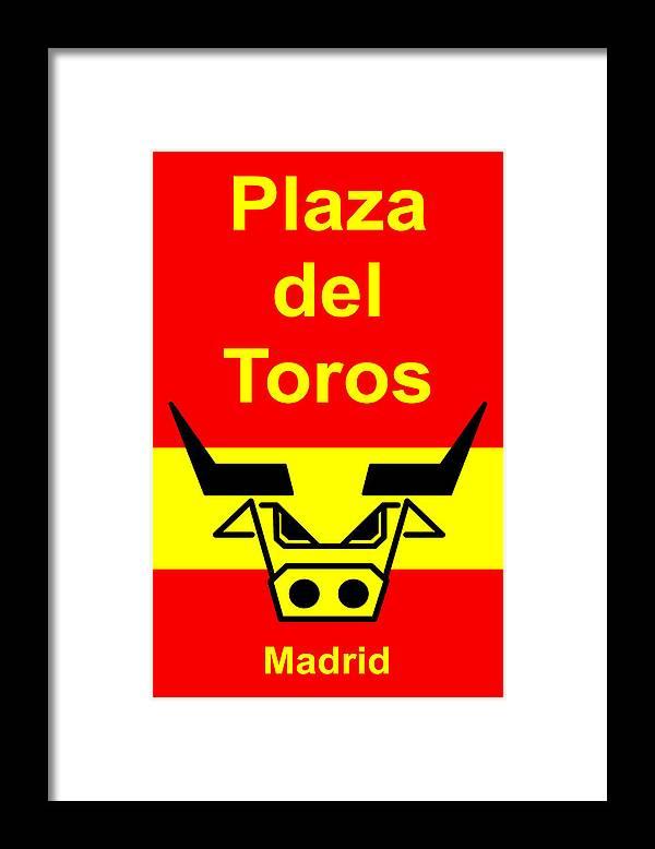 Framed Print featuring the digital art Plaza Del Toros by Asbjorn Lonvig