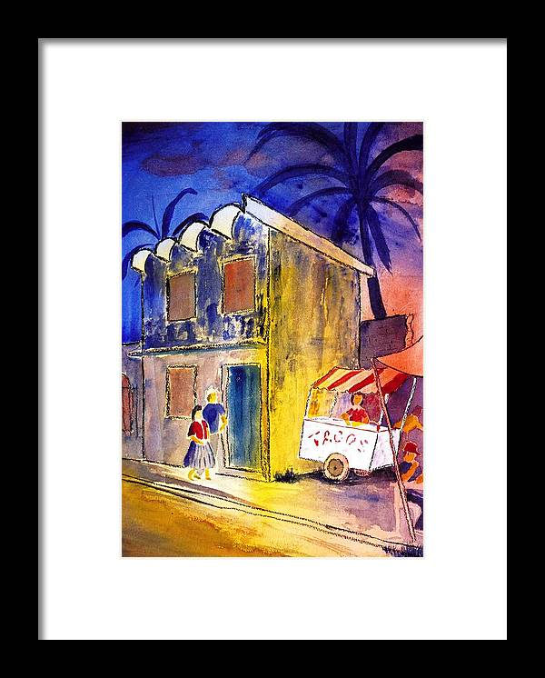 Night Framed Print featuring the greeting card Plaza Taco Stand by Buster Dight