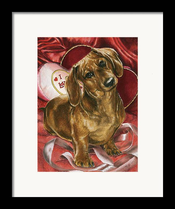 Dogs Framed Print featuring the mixed media Please Be Mine by Barbara Keith
