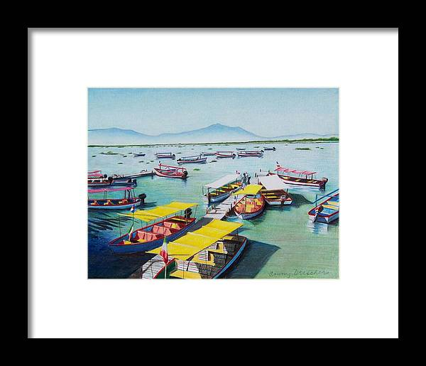 Sea Scape Framed Print featuring the mixed media Pleasure Boats On Lake Chapala by Constance Drescher