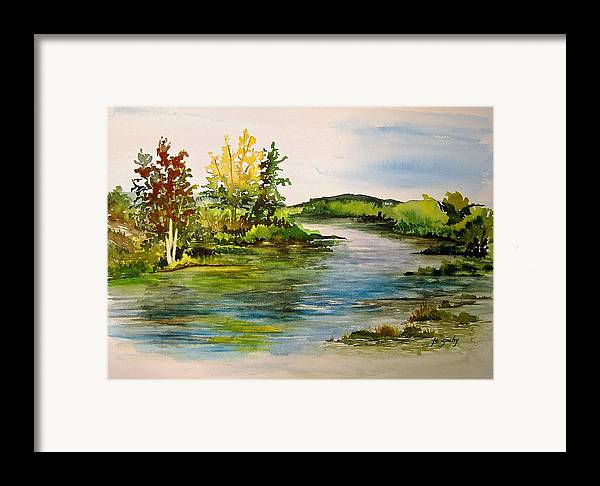 Grand Beach Manitoba Lagoon Framed Print featuring the painting Plein Air At Grand Beach Lagoon by Joanne Smoley