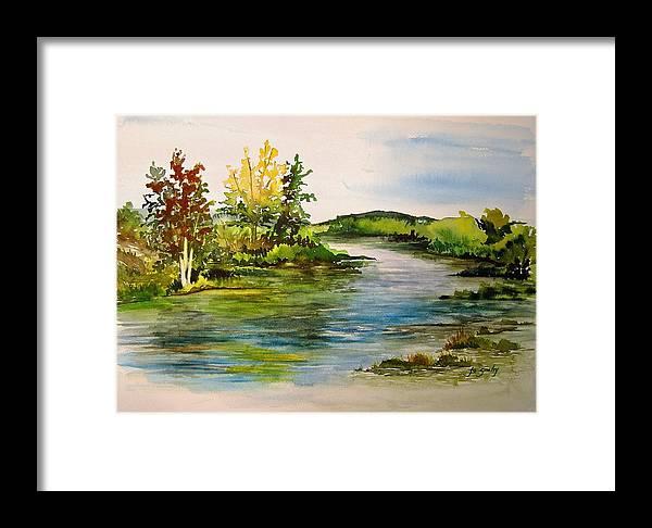 Grand Beach Manitoba Lagoon Framed Print featuring the painting Plein Air At Grand Beach Lagoon by Joanne Smoley