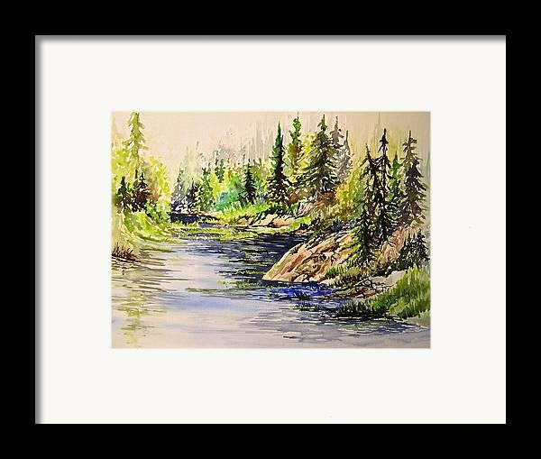 Nutimik Lake Manitoba Landscape Framed Print featuring the painting Plein Air At Nutimik Lake In Manitoba by Joanne Smoley