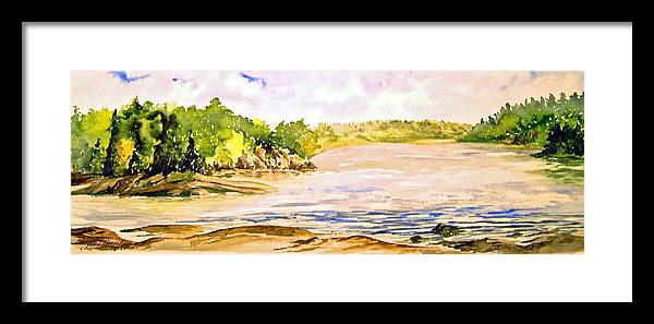 Pine Falls Manitoba Framed Print featuring the painting Plein Air At Pine Falls Manitoba by Joanne Smoley