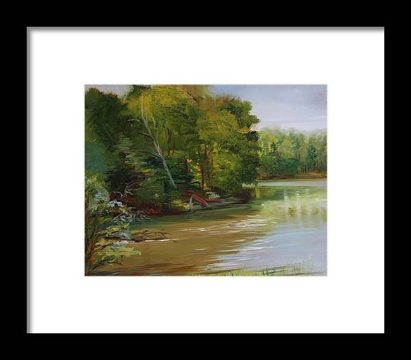 Lake Framed Print featuring the painting Plein Air Willow Creek by Jill Holt