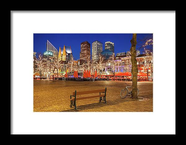 The Hague Framed Print featuring the photograph Plein Square At Night - The Hague by Barry O Carroll