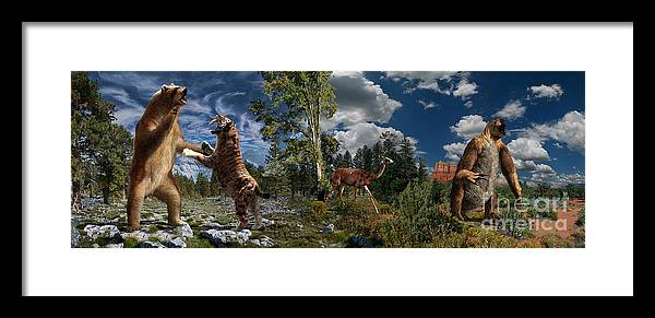 Paleoart Framed Print featuring the digital art Pliocene - Pleistocene mural 2 by Julius Csotonyi