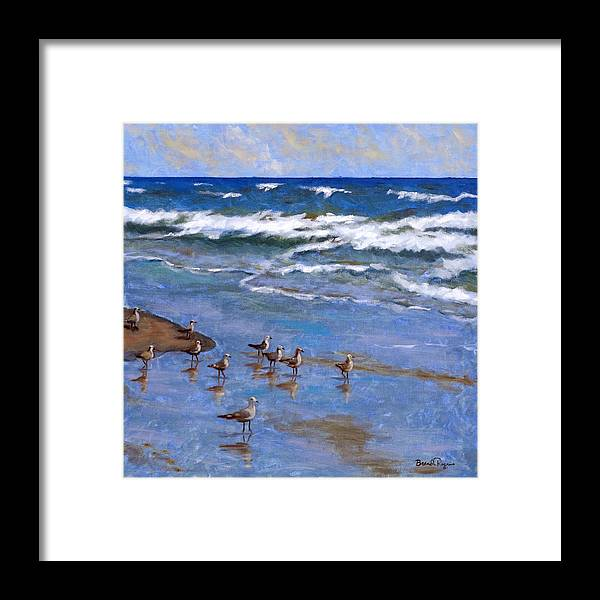 Plover Framed Print featuring the painting Plover Dance by Brenda Williams