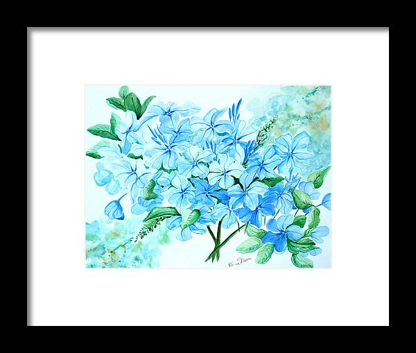Floral Blue Painting Plumbago Painting Flower Painting Botanical Painting Bloom Blue Painting Framed Print featuring the painting Plumbago by Karin Dawn Kelshall- Best