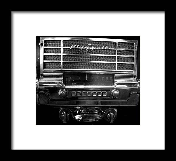 Car Framed Print featuring the photograph Plymouth Radio by Audrey Venute