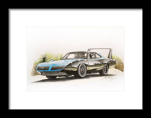 Plymouth Superbird Framed Print featuring the drawing Plymouth Superbird 1970 by Miro Porochnavy