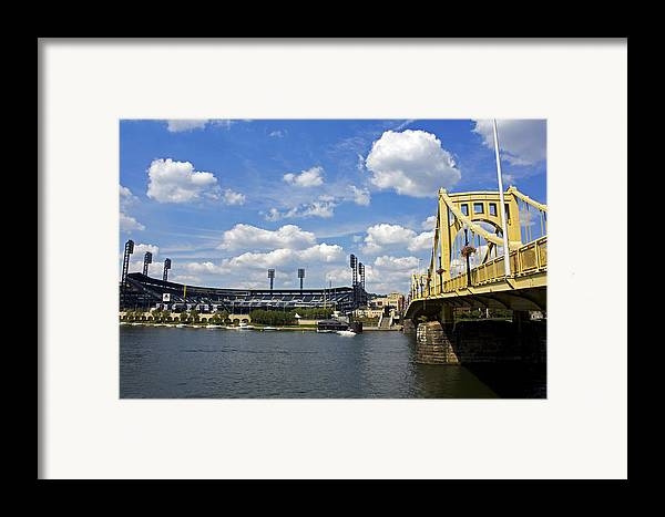 Pittsburgh Framed Print featuring the photograph Pnc Park And Roberto Clemente Bridge Pittsburgh Pa by Kristen Vota
