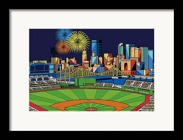 Pnc Park Framed Print featuring the digital art Pnc Park Fireworks by Ron Magnes