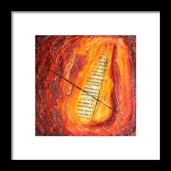 Music Framed Print featuring the painting Poesial Visual by Ivan Guaderrama
