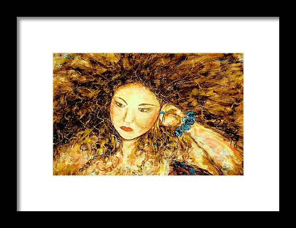 Portrait Framed Print featuring the painting Poet by Natalie Holland