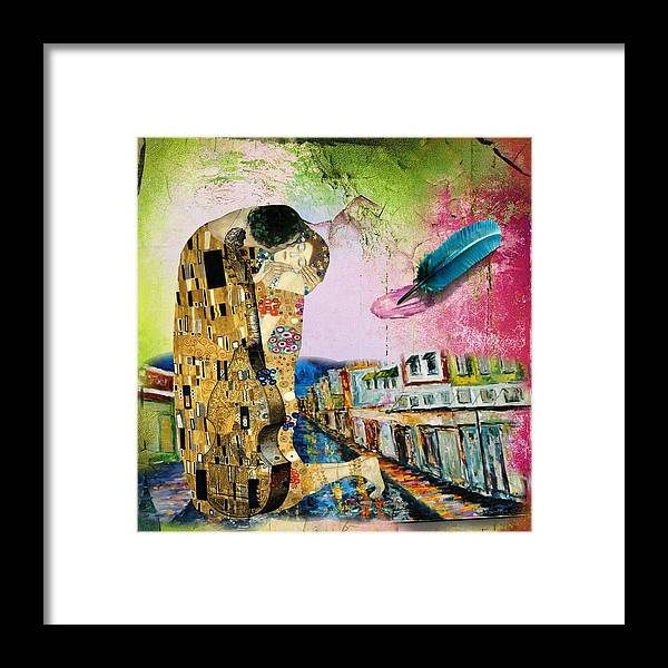 Lovers Framed Print featuring the digital art Poet Streets by Laura Botsford