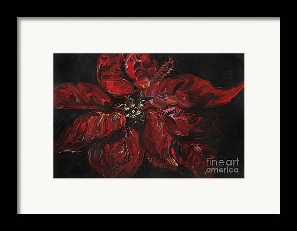 Abstract Framed Print featuring the painting Poinsettia by Nadine Rippelmeyer