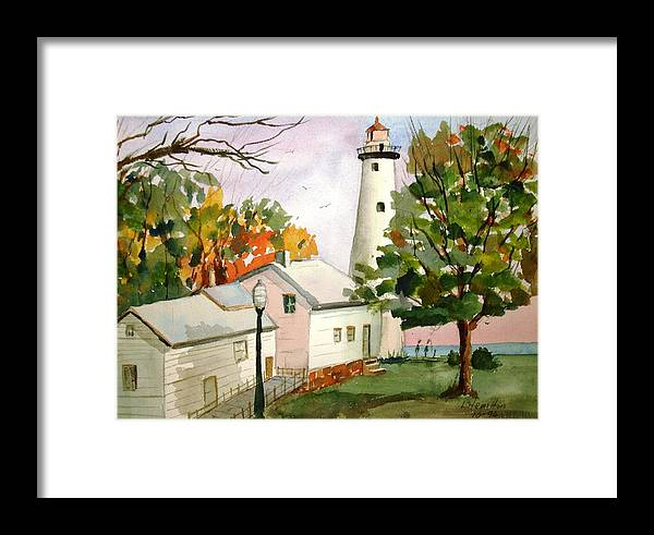 Watercolor Framed Print featuring the painting Point Aux Barques Lighthouse - Port Hope Mi by Larry Hamilton