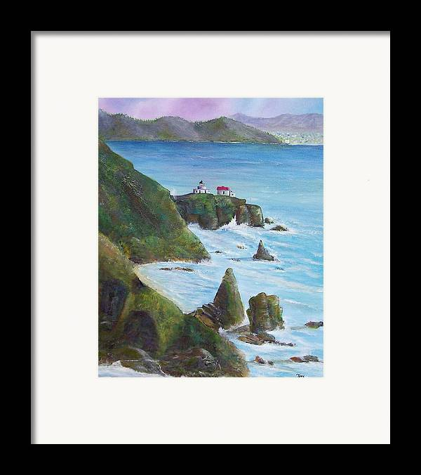 Lighthouse Framed Print featuring the painting Point Bonita Lighthouse by Tony Rodriguez