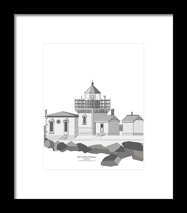 Lighthouse Framed Print featuring the painting Point No Point As Architectural Drawing by Anne Norskog
