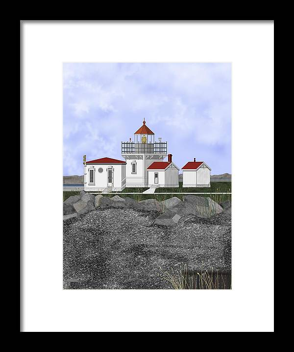 Lighthouse Framed Print featuring the painting Point No Point Lighthouse by Anne Norskog