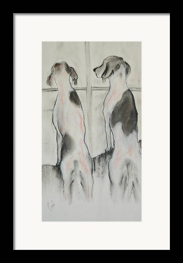 Pastel Framed Print featuring the drawing Point Of View by Cori Solomon