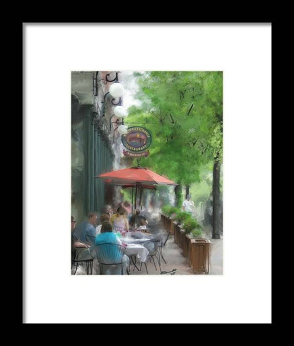 Summer Tea Painting Street Oil Envy Chairs Cafe Sunday Umbrella Framed Print featuring the painting Point Of View by Eddie Durrett