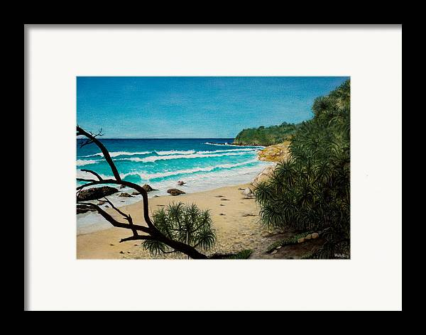 Seascape; Point Perry Framed Print featuring the painting Point Perry Coolum Beach by Joe Michelli