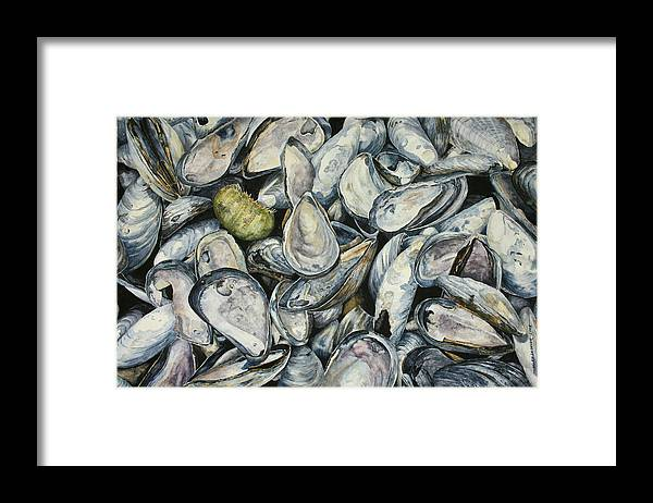 Mussel Shells Framed Print featuring the painting Point Pleasant Buffet Garden by Helen Shideler