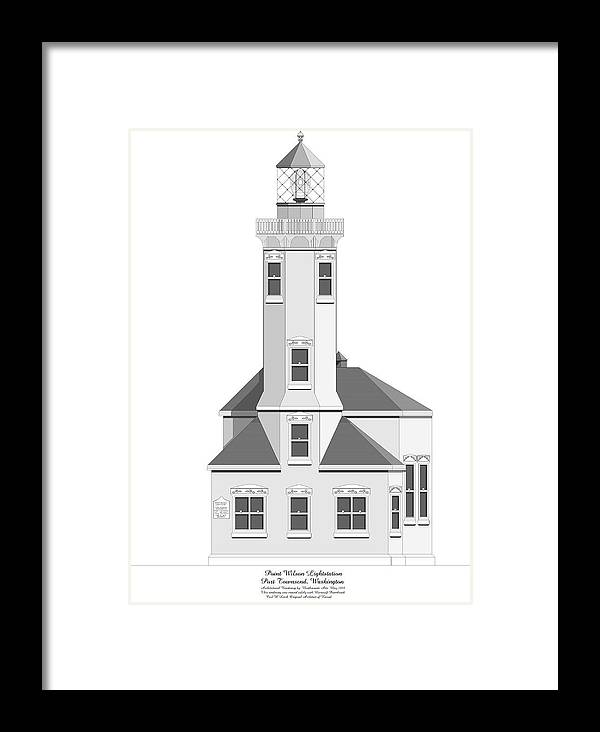 Lighthouse Framed Print featuring the painting Point Wilson Architectural Drawing by Anne Norskog