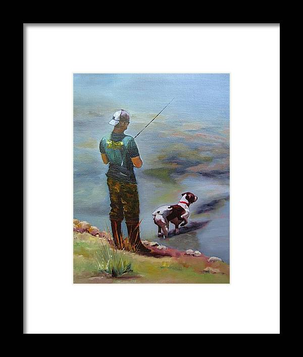 Animal Framed Print featuring the painting Pointin Fish by Vicki Brevell