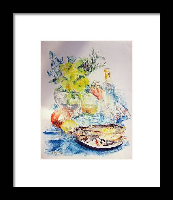 Still Life Framed Print featuring the drawing Poissons by Muriel Dolemieux