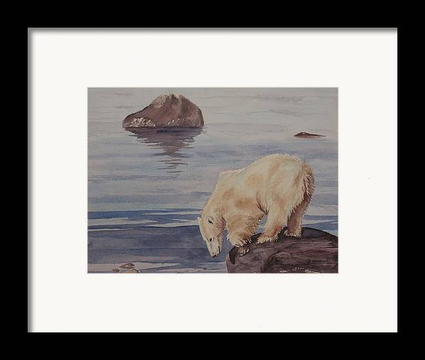 Polar Bear Framed Print featuring the painting Polar Bear Fishing by Debbie Homewood