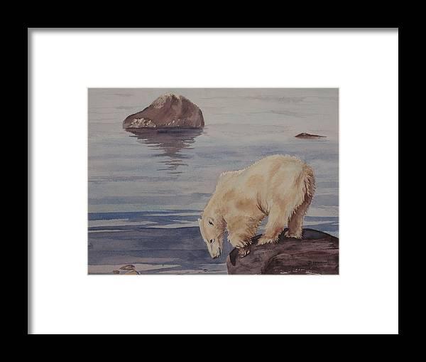 Polar Bear Framed Print featuring the painting Polar Bear Fishing by Debbie Homewood