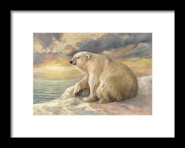 Polar Bear Framed Print featuring the painting Polar Bear Rests On The Ice - Arctic Alaska by Svitozar Nenyuk