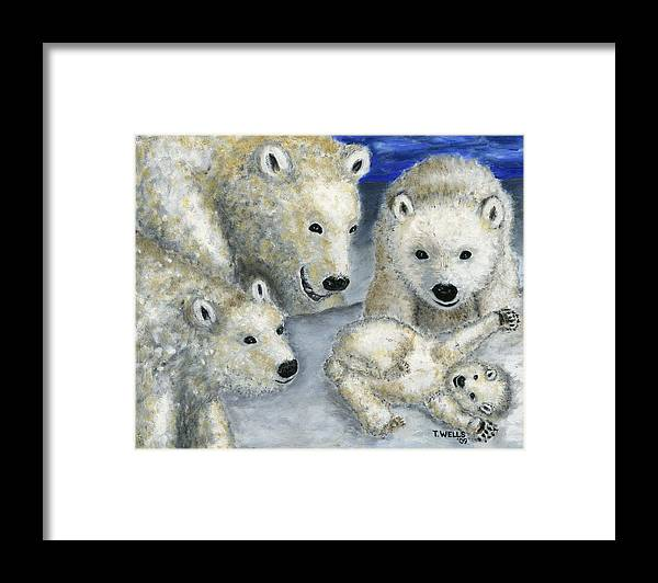 Polar Bears Framed Print featuring the painting Polar Bears at Play in the Arctic by Tanna Lee M Wells