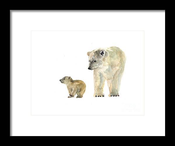 Bear Framed Print featuring the painting Polar Bears Watercolor Art Print Painting by Joanna Szmerdt