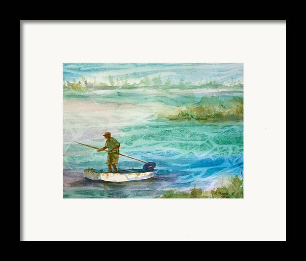 Seascape Framed Print featuring the painting Poling The Flats by Ruth Mabee