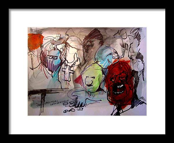 Satrical Framed Print featuring the painting Political Leadership by Paul Miller