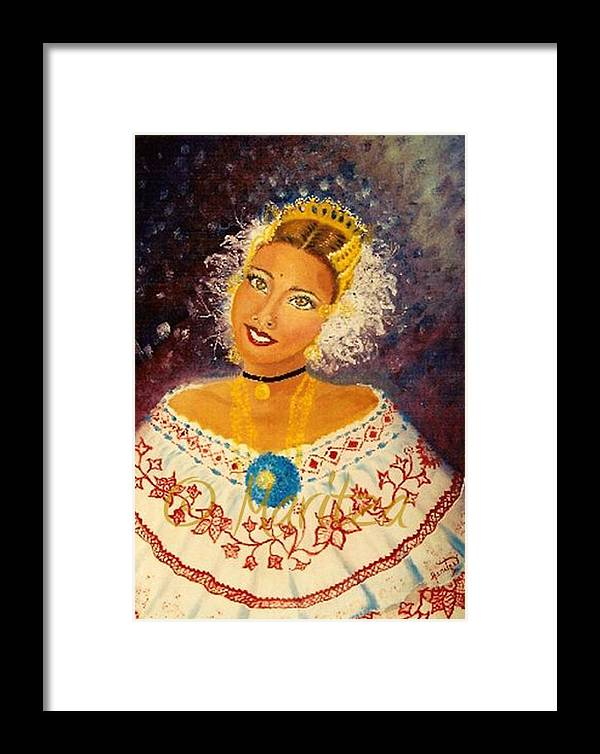 Self Portraid Framed Print featuring the painting Pollera Colora by Maritza De Leon