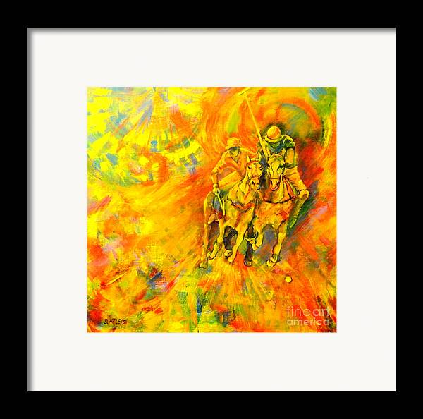 Horses Framed Print featuring the painting Poloplayer by Dagmar Helbig