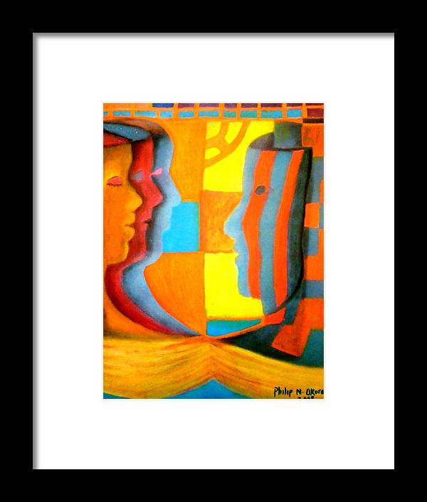 Mask Framed Print featuring the painting Polymorphism I by Philip Okoro
