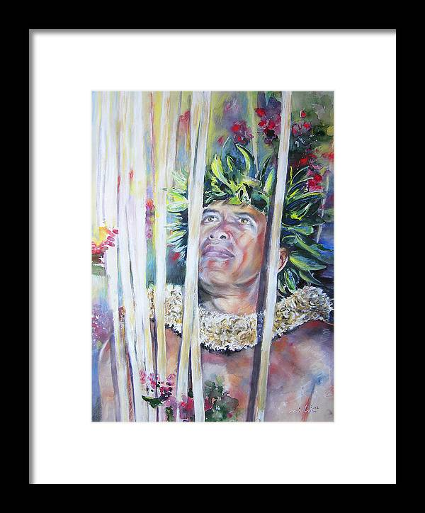 Polynesia Framed Print featuring the painting Polynesian Maori Warrior With Spears by Miki De Goodaboom