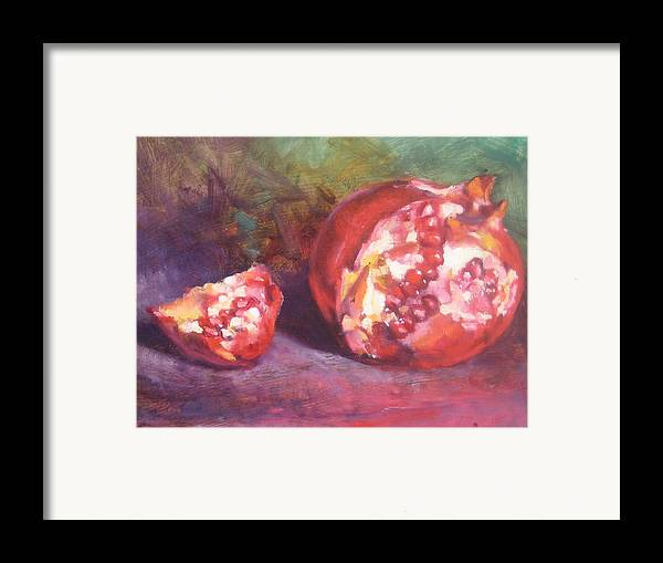 Still Life Framed Print featuring the painting Pomegranate by Susan Jenkins